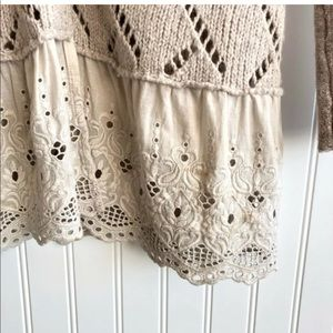 Free people knit cardigan with lace detail